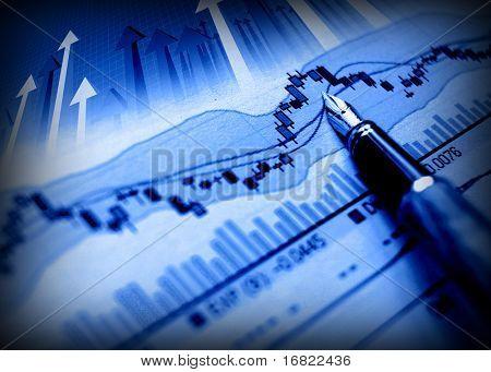 imago van het bedrijf van pen geven groeien op financiële diagram