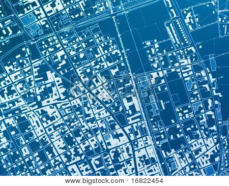 hir res image of town blue print