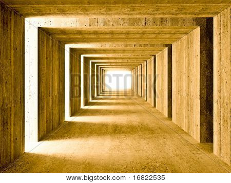 fine image 3d of concrete tunnel and lateral lights, abstract background
