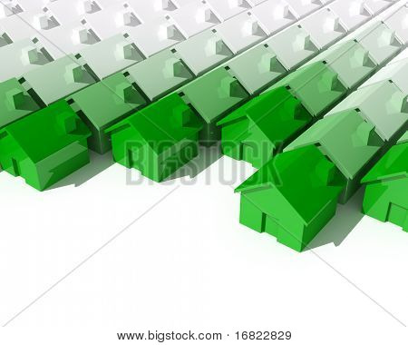 fine image 3d of green metaphor house background