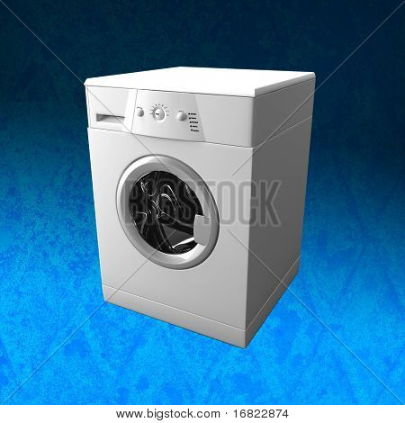 fine 3d image of classic washing machine with GRUNGE background