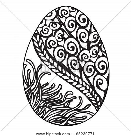 Hand Drawn Ornamental Easter Egg With Floral Doodle Pattern For Coloring Book And Decorative Design Element