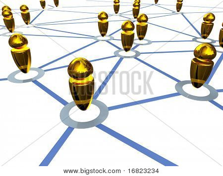 fine 3d image of gold metaphoric connection business people