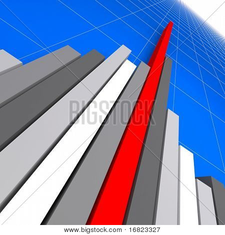 fine 3d image of 3d financial graph stat business background
