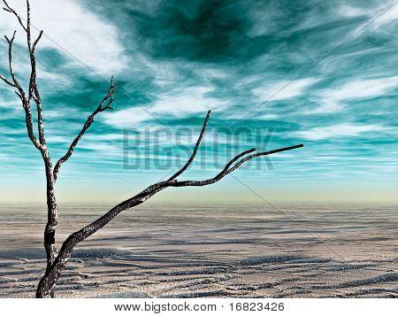 fine 3d image of abstract desolate land, desert landscape