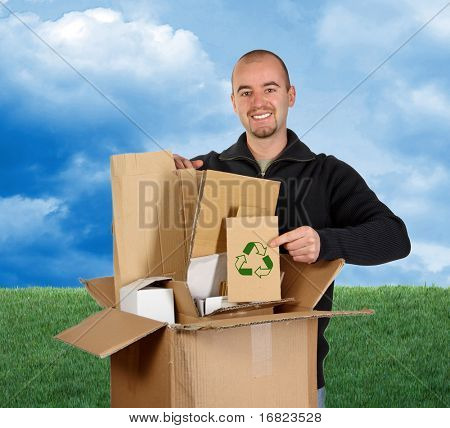 fine image 3d of green lawn and sky background man recycling paper