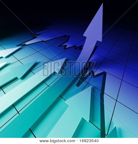 3d business background image, arrow on stat