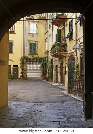 Lucca tuscany, italy, detail of courtyard in the middle of the town