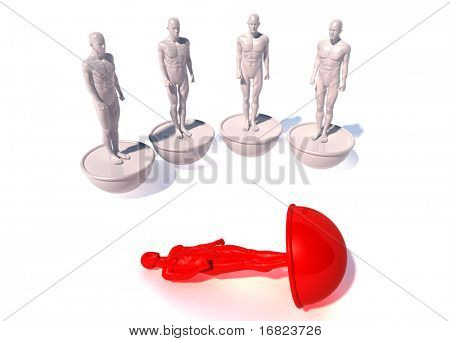 fine 3d image of human models, metaphor image, team problem
