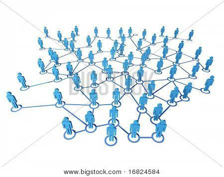 3d blue people on virtual web connection white background