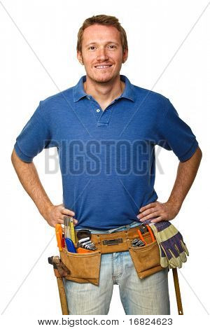 portrait of manual worker  isolated on white