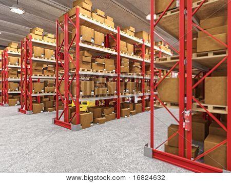 Indoor Bild des klassischen Warehouse Gebäude 3d Hintergrund