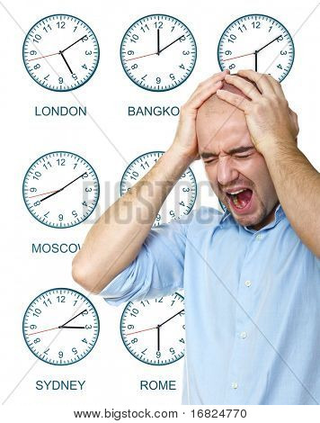 caucasian man stressed by jet lag with time zone clock background