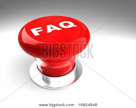 classic red 3d faq button on white plane
