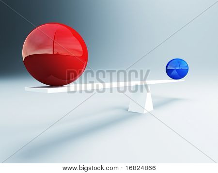 fine 3d image of red and blue balanced balls background