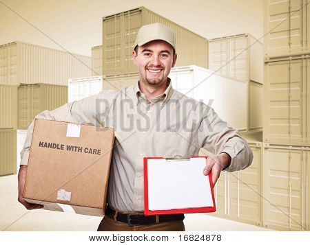 delivery man at work and 3d container sepia background