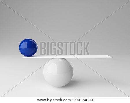 3d image of ball rendering in false balance