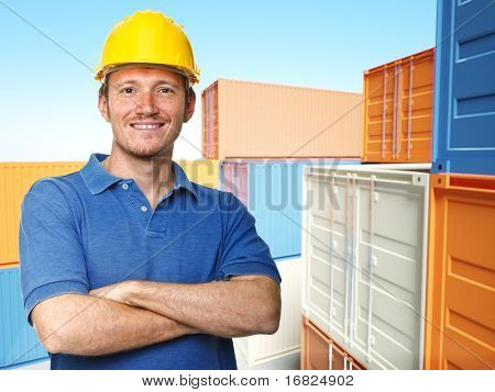 smiling worker and  classic container 3d background