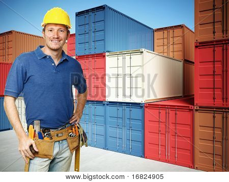 smiling handyman and 3d container background