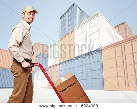 smiling delivery man and industrial container 3d fine background