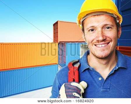 manual worker portrait  and  classic container 3d background