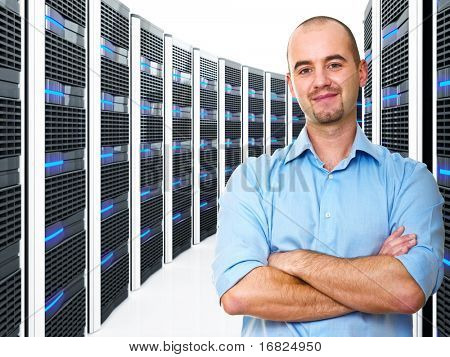 vertrouwen jonge man en datacenter 3D-achtergrond