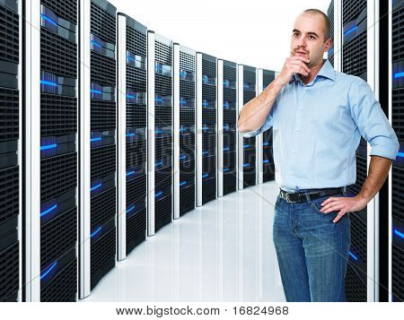 caucasian businessman and  datacenter with lots of server