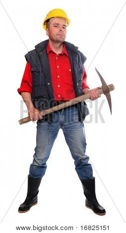 Male construction worker with pick axe on a white background.