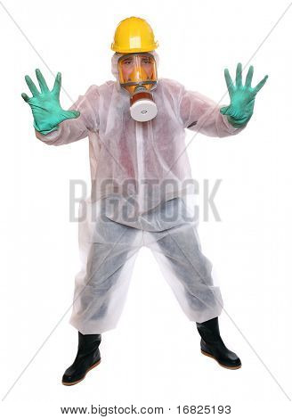Male activist in protective suit for bio-hazard on white background.