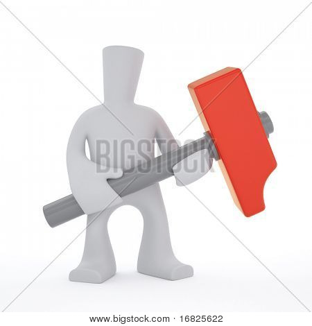 3-D character keep red hammer