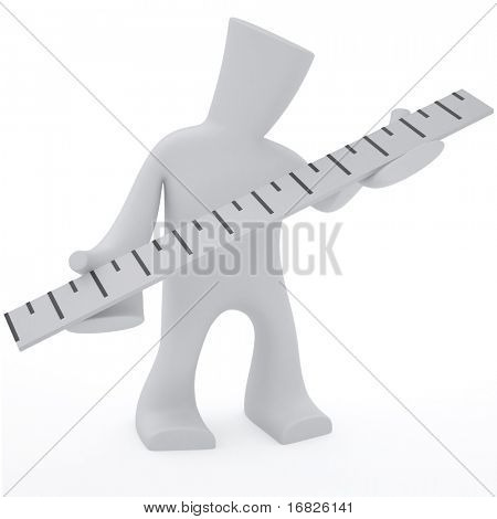 3d character keep in heand ruler