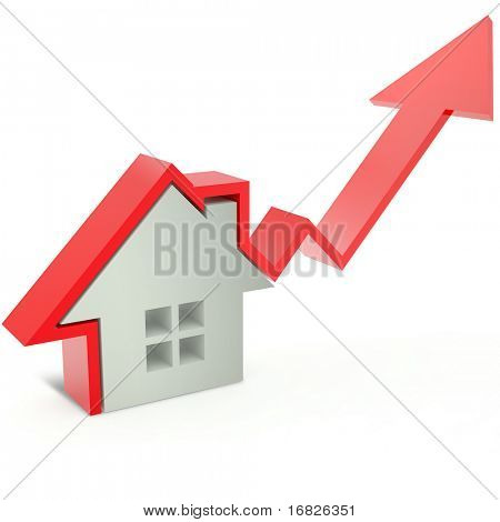 3d home and blue arrow of progress