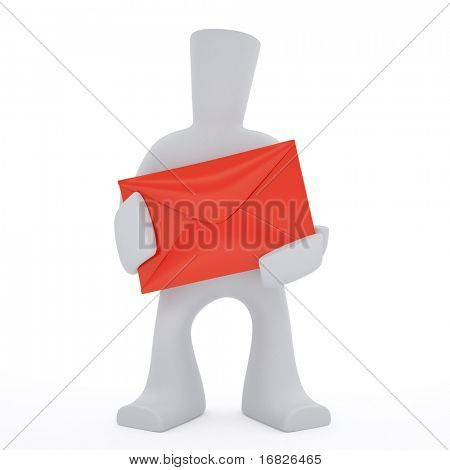 3d character keep in hands red envelop