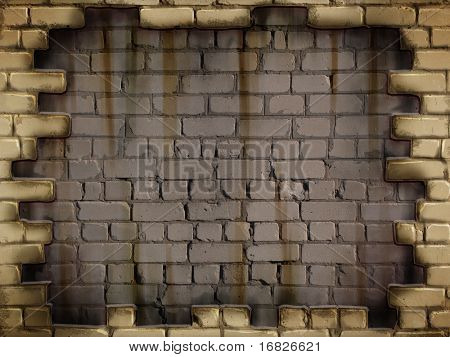 Grunge dark concrete wall in a brick frame conceptual background texture