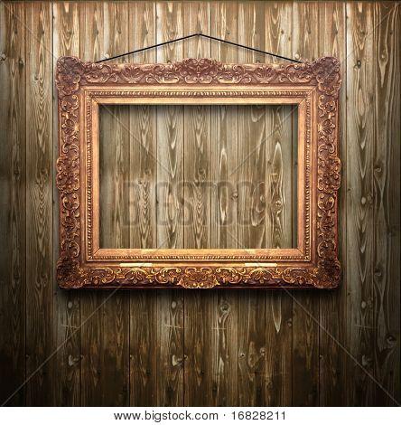Vintage Frame auf hölzernen Hintergrund