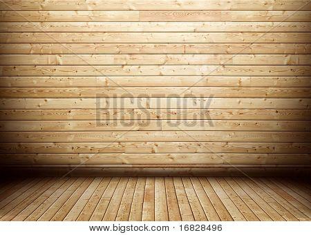 Interior de madeira do quarto do grunge