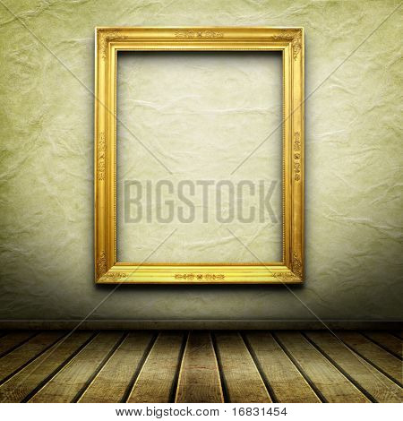 Old room, grunge interior with frame in style baroque