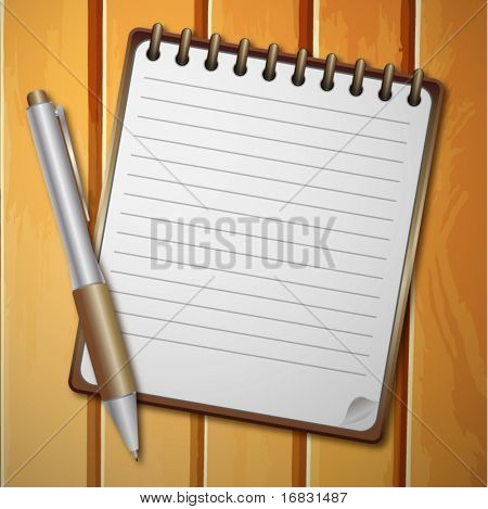 vector realistic notebook and background for text with pen on wooden background