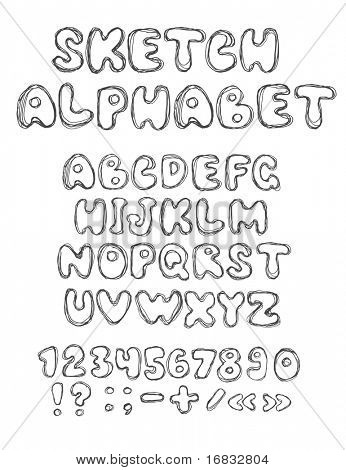vector sketch alphabet (vector eps10)