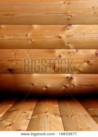 Wooden interior from new and fresh planks