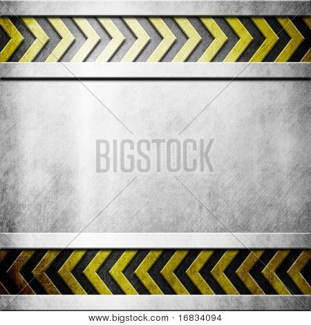 Metal plate with hazard yellow stripes