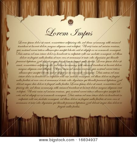 old paper on wood background (vector template)