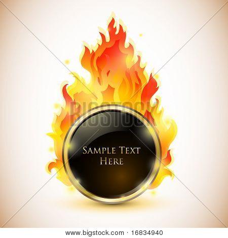 Fiery glossy black speech bubble