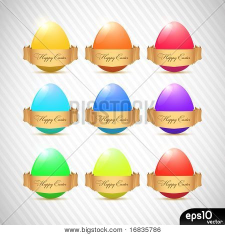 Easter eggs with ribbons (colorful set)