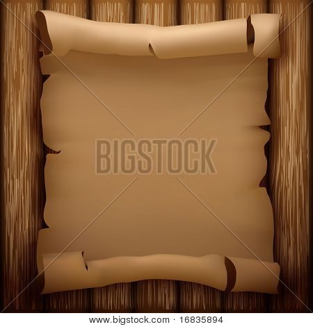 Old manuscript on wooden table (vector illustration)