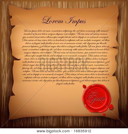 Altpapier mit Siegellack Stempel auf hölzernen Hintergrund