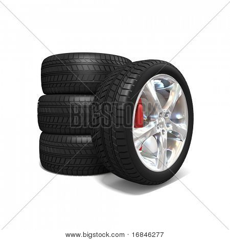 Wheel with steel rim over the white background