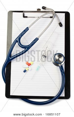 Note Pad Wth Blue Stethoscope And Pills