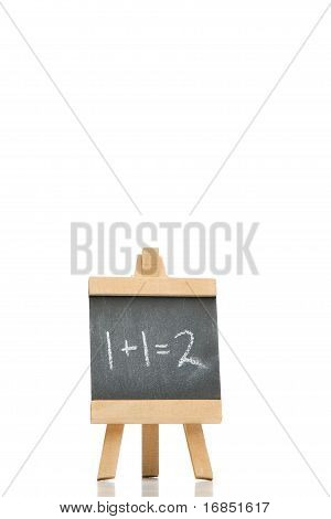 Chalkboard With An Addition And A Result Written On It
