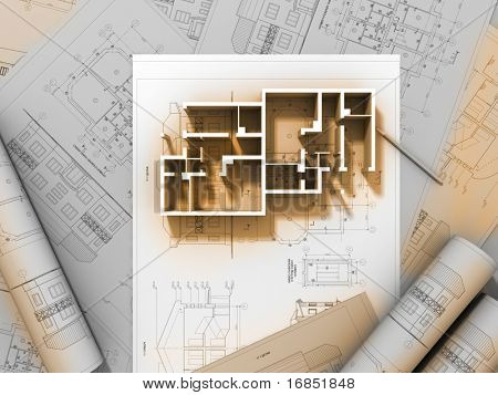 3D plan drawing